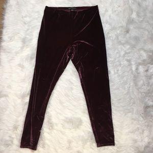 Mauve colored velvet leggings